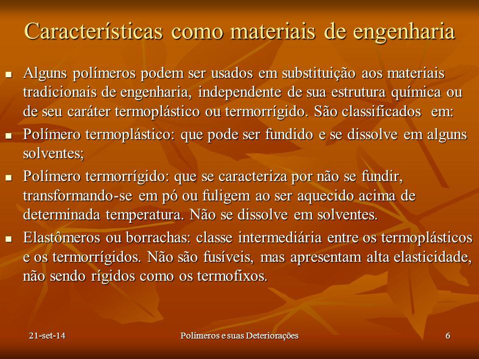 Características como materiais de engenharia Alguns polímeros podem ser usados em substituição aos materiais tradicionais de engenharia, independente