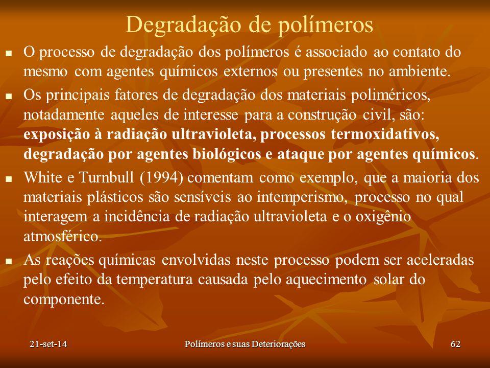 Degradação de polímeros O processo de degradação dos polímeros é associado ao contato do mesmo com agentes químicos externos ou presentes no ambiente.