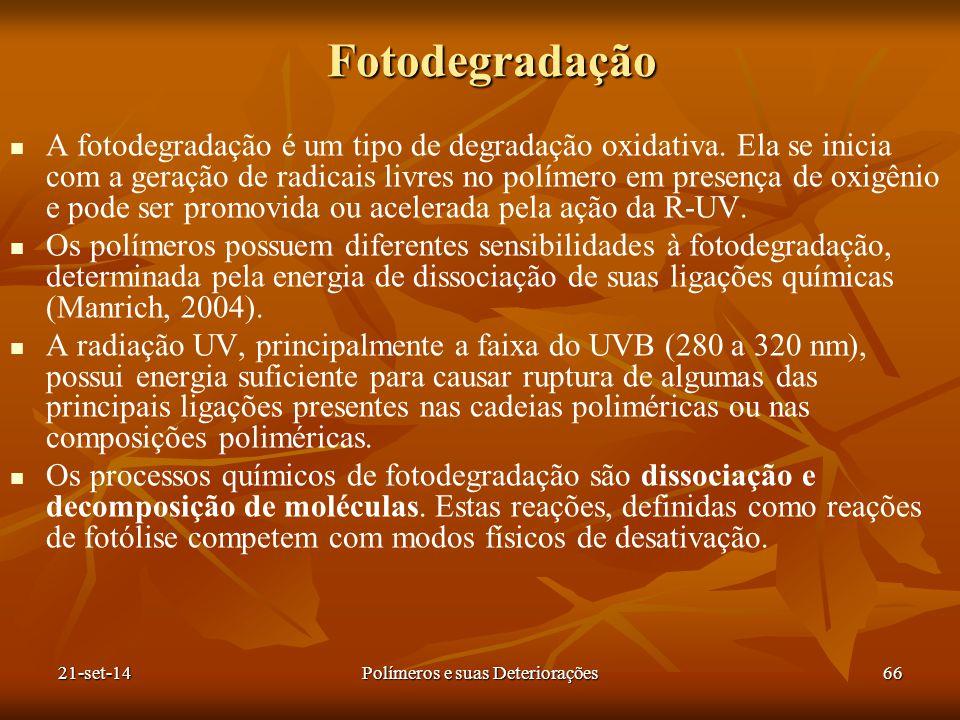 Fotodegradação A fotodegradação é um tipo de degradação oxidativa. Ela se inicia com a geração de radicais livres no polímero em presença de oxigênio