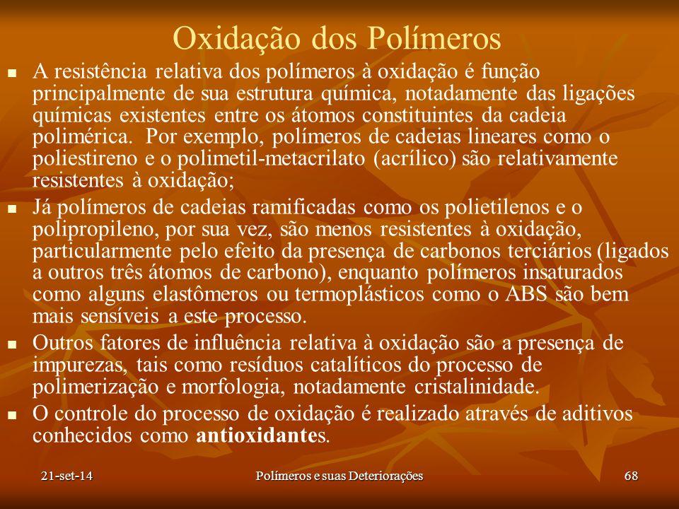 Oxidação dos Polímeros A resistência relativa dos polímeros à oxidação é função principalmente de sua estrutura química, notadamente das ligações quím