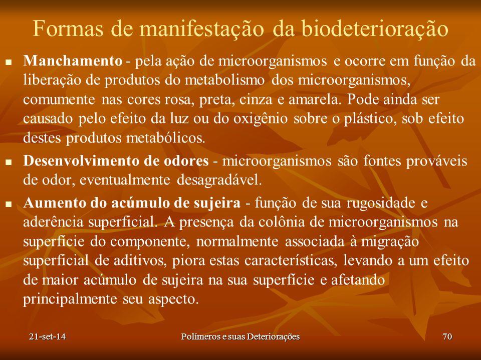 Formas de manifestação da biodeterioração Manchamento - pela ação de microorganismos e ocorre em função da liberação de produtos do metabolismo dos mi