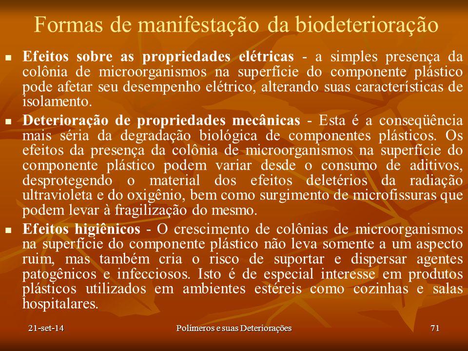 Formas de manifestação da biodeterioração Efeitos sobre as propriedades elétricas - a simples presença da colônia de microorganismos na superfície do