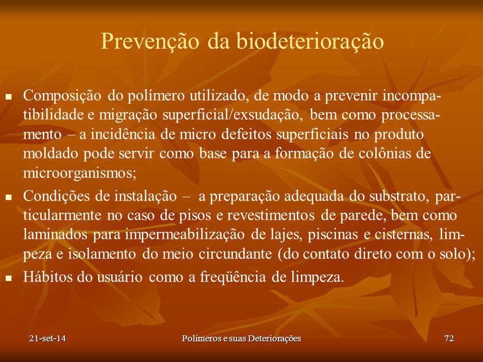 Prevenção da biodeterioração Composição do polímero utilizado, de modo a prevenir incompa- tibilidade e migração superficial/exsudação, bem como proce