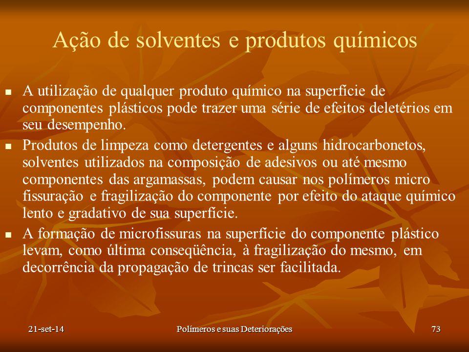Ação de solventes e produtos químicos A utilização de qualquer produto químico na superfície de componentes plásticos pode trazer uma série de efeitos