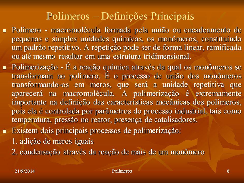 21/9/2014Polímeros8 P Polímeros – Definições Principais Polímero - macromolécula formada pela união ou encadeamento de pequenas e simples unidades quí