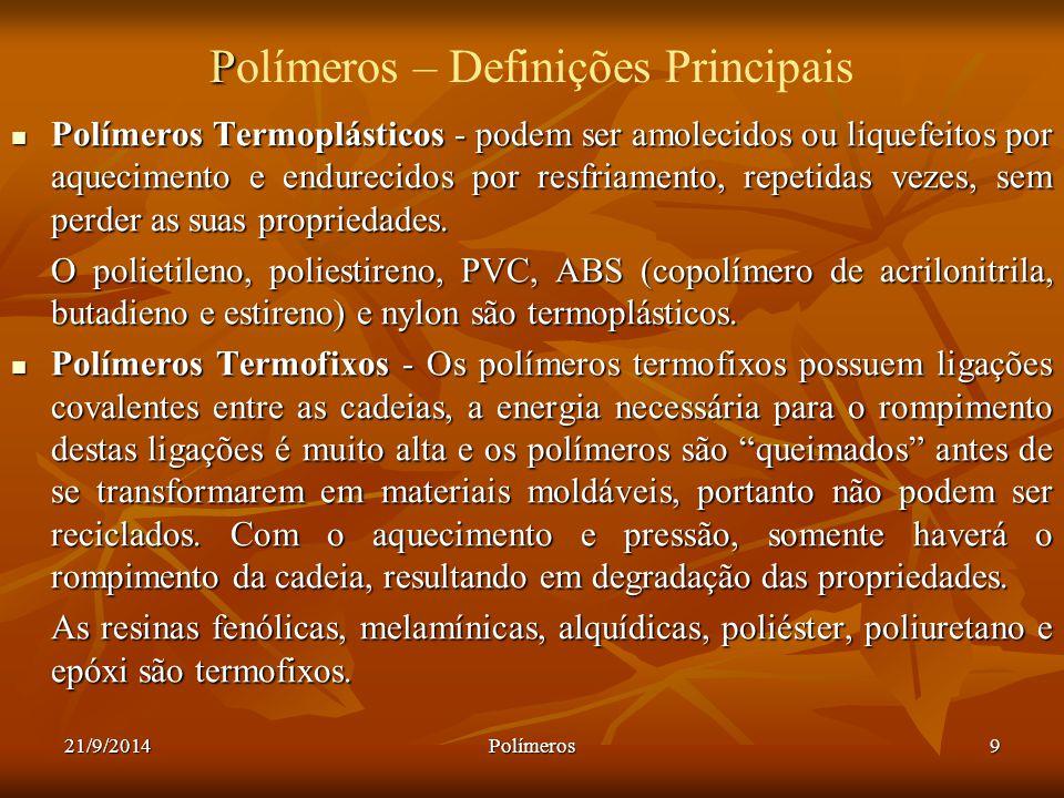 21/9/2014Polímeros9 P Polímeros – Definições Principais Polímeros Termoplásticos - podem ser amolecidos ou liquefeitos por aquecimento e endurecidos p