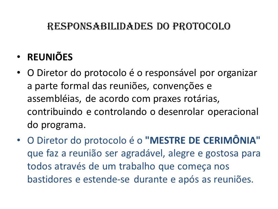 responsabilidades do protocolo REUNIÕES O Diretor do protocolo é o responsável por organizar a parte formal das reuniões, convenções e assembléias, de
