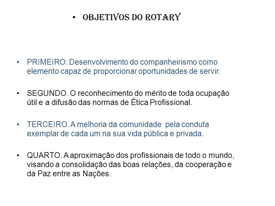 Objetivos do Rotary PRIMEIRO: Desenvolvimento do companheirismo como elemento capaz de proporcionar oportunidades de servir. SEGUNDO. O reconhecimento