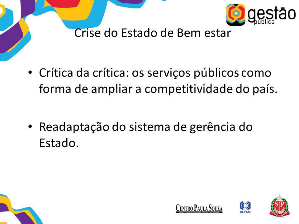 Crise do Estado de Bem estar Crítica da crítica: os serviços públicos como forma de ampliar a competitividade do país. Readaptação do sistema de gerên