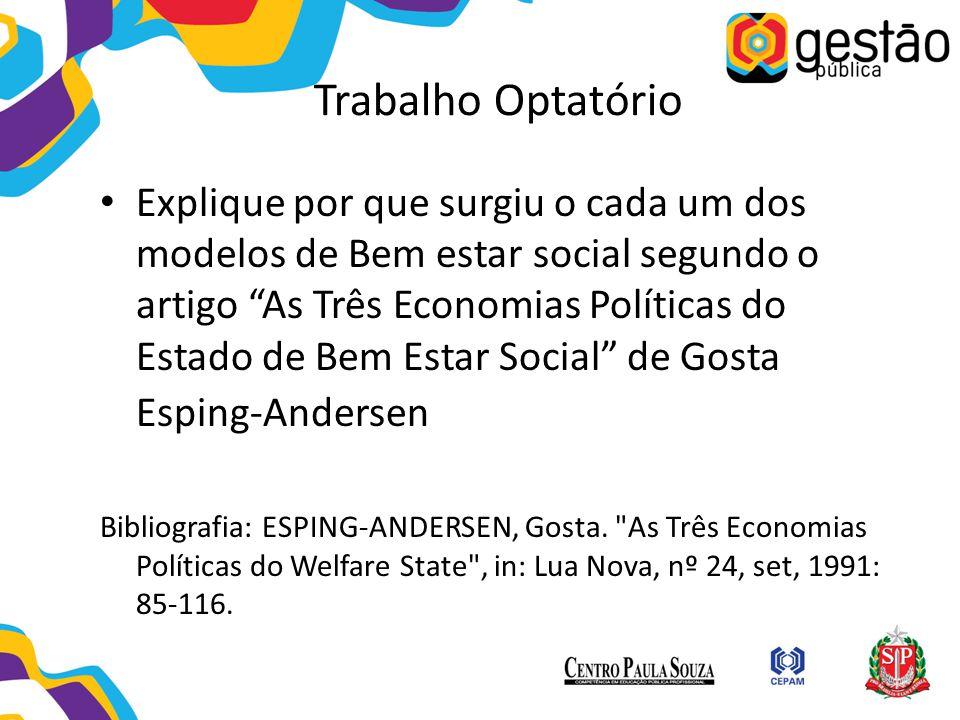 """Trabalho Optatório Explique por que surgiu o cada um dos modelos de Bem estar social segundo o artigo """"As Três Economias Políticas do Estado de Bem Es"""