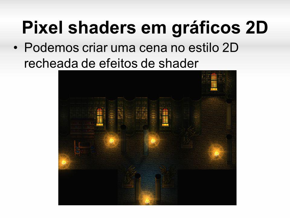 Pixel shaders em gráficos 2D Podemos criar uma cena no estilo 2D recheada de efeitos de shader