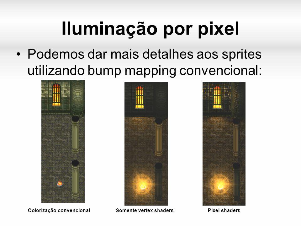 Iluminação por pixel Podemos dar mais detalhes aos sprites utilizando bump mapping convencional: Colorização convencionalSomente vertex shadersPixel shaders