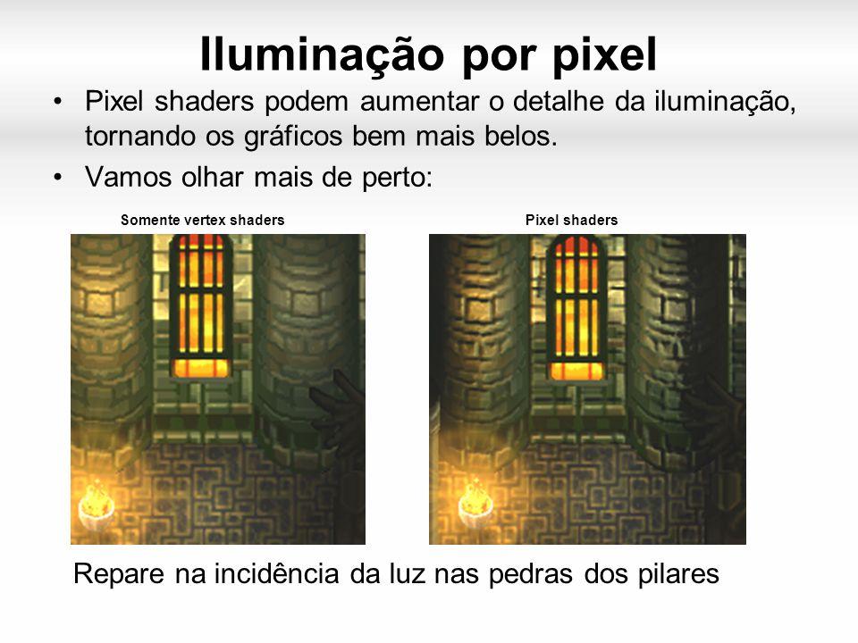 Iluminação por pixel Pixel shaders podem aumentar o detalhe da iluminação, tornando os gráficos bem mais belos.