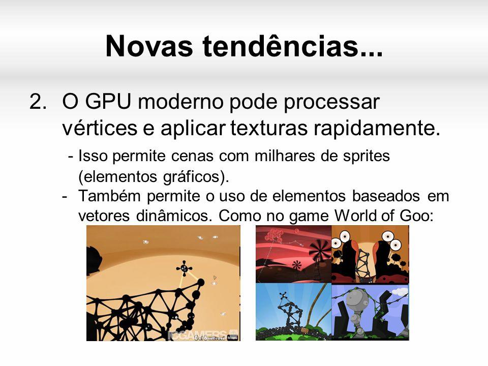 Novas tendências... 2.O GPU moderno pode processar vértices e aplicar texturas rapidamente.