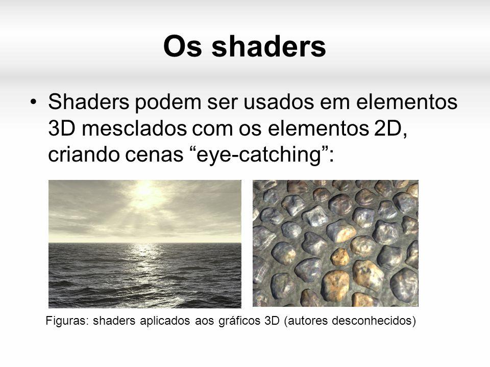 Os shaders Shaders podem ser usados em elementos 3D mesclados com os elementos 2D, criando cenas eye-catching : Figuras: shaders aplicados aos gráficos 3D (autores desconhecidos)