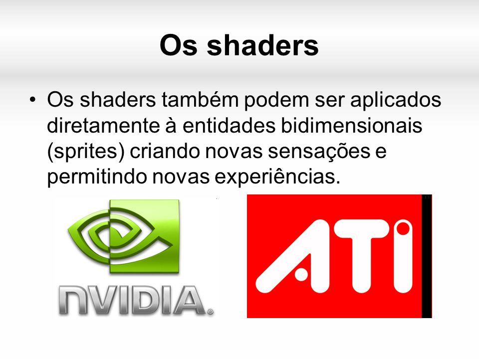 Os shaders Os shaders também podem ser aplicados diretamente à entidades bidimensionais (sprites) criando novas sensações e permitindo novas experiências.
