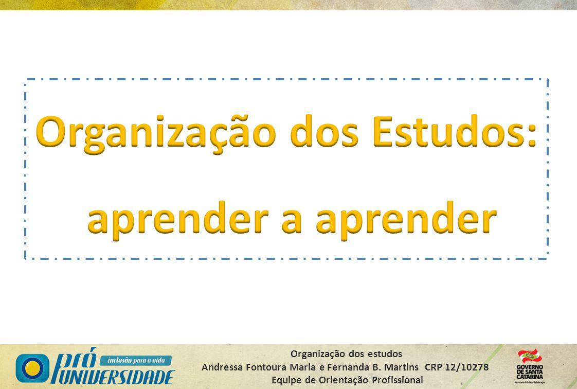 Organização dos estudos Andressa Fontoura Maria e Fernanda B. Martins CRP 12/10278 Equipe de Orientação Profissional