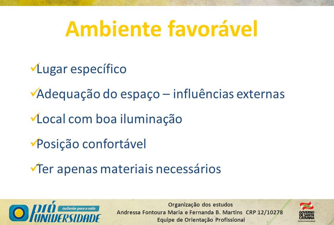 Organização dos estudos Andressa Fontoura Maria e Fernanda B. Martins CRP 12/10278 Equipe de Orientação Profissional Ambiente favorável Lugar específi