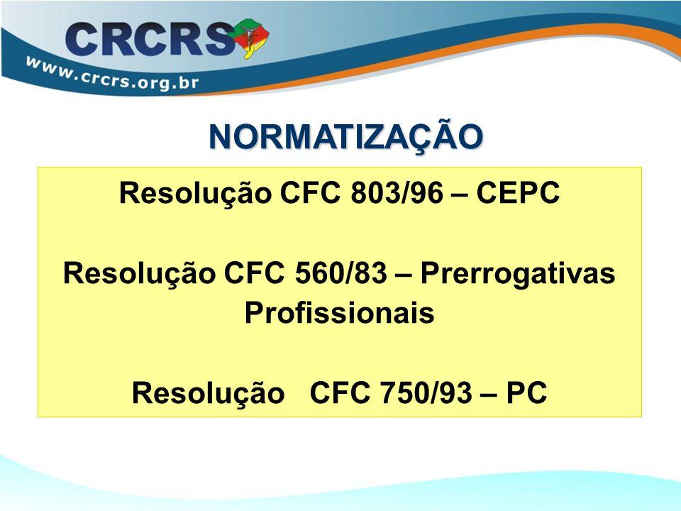 Resolução CFC 803/96 – CEPC Resolução CFC 560/83 – Prerrogativas Profissionais Resolução CFC 750/93 – PC NORMATIZAÇÃO