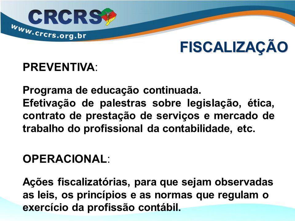 FISCALIZAÇÃO PREVENTIVA: Programa de educação continuada. Efetivação de palestras sobre legislação, ética, contrato de prestação de serviços e mercado