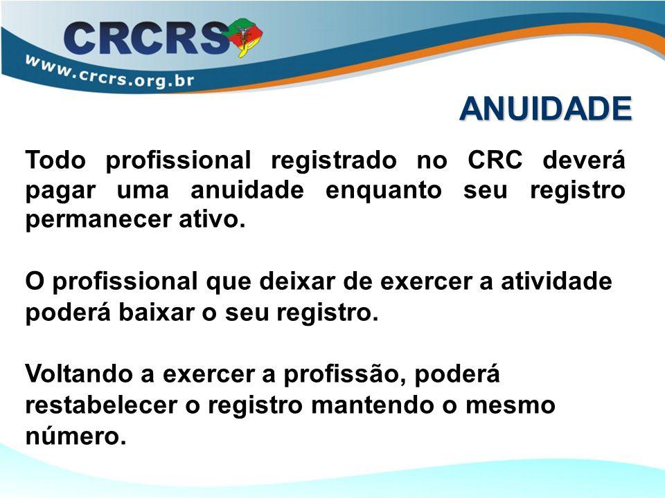 ANUIDADE Todo profissional registrado no CRC deverá pagar uma anuidade enquanto seu registro permanecer ativo. O profissional que deixar de exercer a