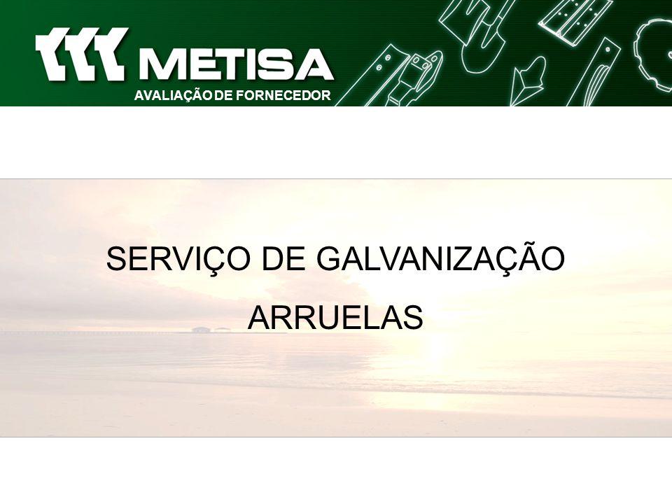 SISTEMA DE AVALIAÇÃO AVALIAÇÃO DE FORNECEDOR SERVIÇOS DE GALVANIZAÇÃO - ARRUELAS (Pontualidade) Cumprimento do Prazo de Entrega constante no Pedido de Compra PONTUALIDADE