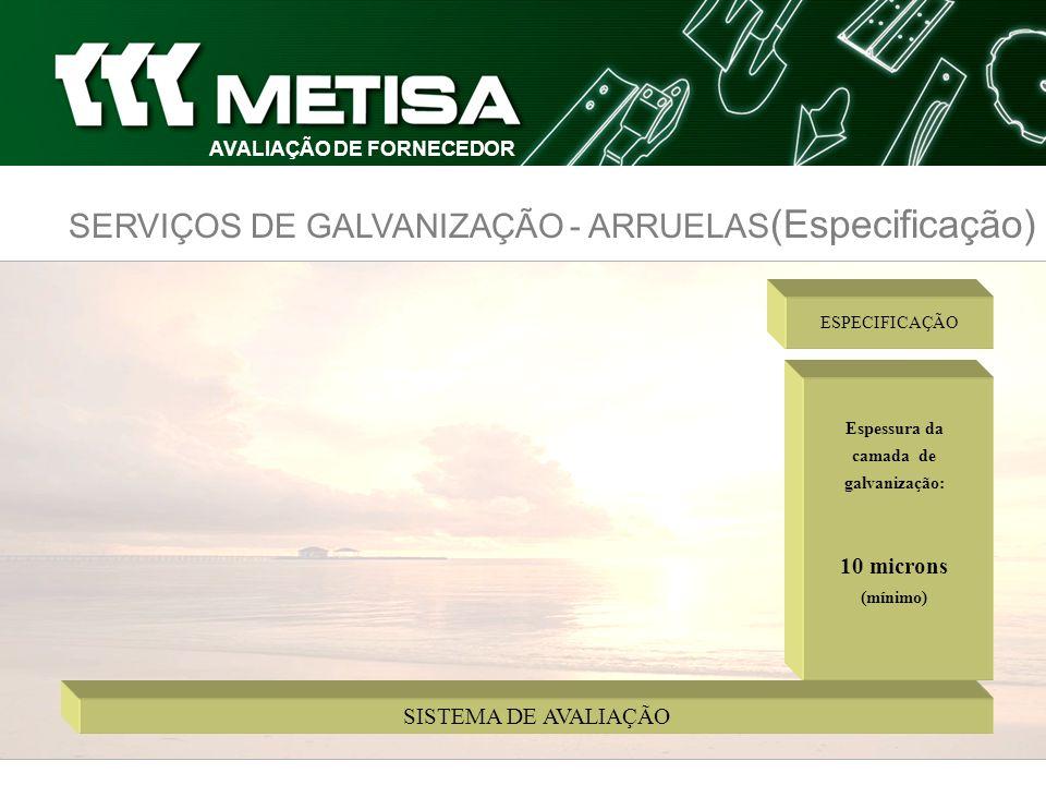 SERVIÇOS DE GALVANIZAÇÃO - ARRUELAS (Especificação) Espessura da camada de galvanização: 10 microns (mínimo) ESPECIFICAÇÃO SISTEMA DE AVALIAÇÃO
