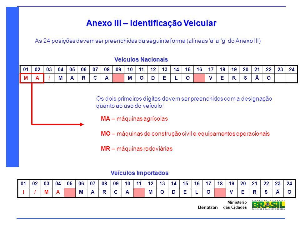 Denatran Ministério das Cidades Anexo III – Identificação Veicular As 24 posições devem ser preenchidas da seguinte forma (alíneas 'a' a 'g' do Anexo