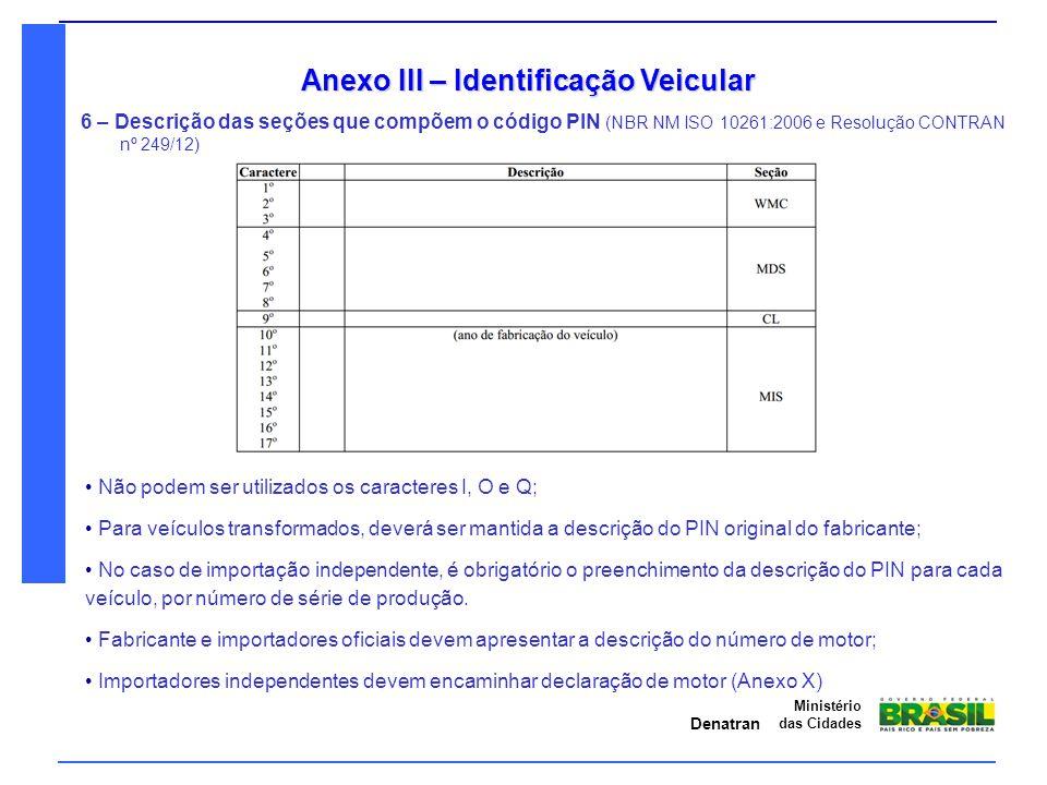 Denatran Ministério das Cidades Anexo III – Identificação Veicular 6 – Descrição das seções que compõem o código PIN (NBR NM ISO 10261:2006 e Resoluçã