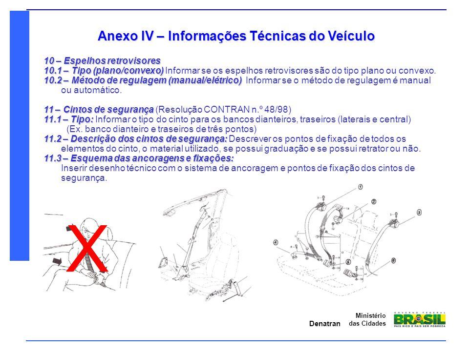 Denatran Ministério das Cidades Anexo IV – Informações Técnicas do Veículo 10 – Espelhos retrovisores 10.1 – Tipo (plano/convexo) 10.1 – Tipo (plano/c
