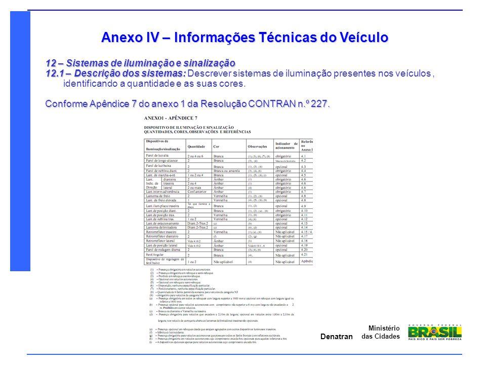 Denatran Ministério das Cidades Anexo IV – Informações Técnicas do Veículo 12 – Sistemas de iluminação e sinalização 12.1 – Descrição dos sistemas: 12