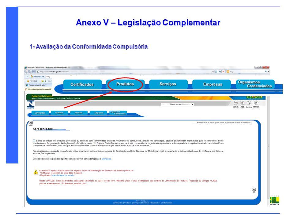 Denatran Ministério das Cidades Anexo V – Legislação Complementar 1- Avaliação da Conformidade Compulsória