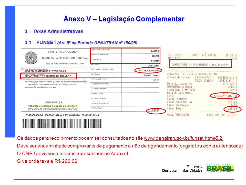 Denatran Ministério das Cidades Anexo V – Legislação Complementar 3 – Taxas Administrativas 3.1 – FUNSET (Art. 8º da Portaria DENATRAN nº 190/09) O va