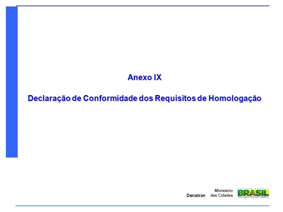 Denatran Ministério das Cidades Anexo IX Declaração de Conformidade dos Requisitos de Homologação