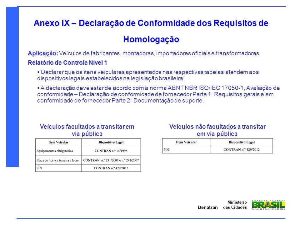 Denatran Ministério das Cidades Anexo IX – Declaração de Conformidade dos Requisitos de Homologação Relatório de Controle Nível 1 Declarar que os iten
