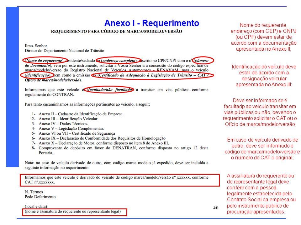 Denatran Ministério das Cidades Anexo V – Legislação Complementar 1- Avaliação da Conformidade Compulsória Pode ser encaminhada a informação do site do INMETRO http://www.inmetro.gov.br/prodcert/ ou Certificação do próprio fabricante do produto aplicado ao veículo; Deve ser informado nos campos 1.1, 1.2, 1.3 o produto específico utilizado no veículo; Nos casos em que não se aplica os itens de avaliação compulsória, escrever NÃO APLICÁVEL.