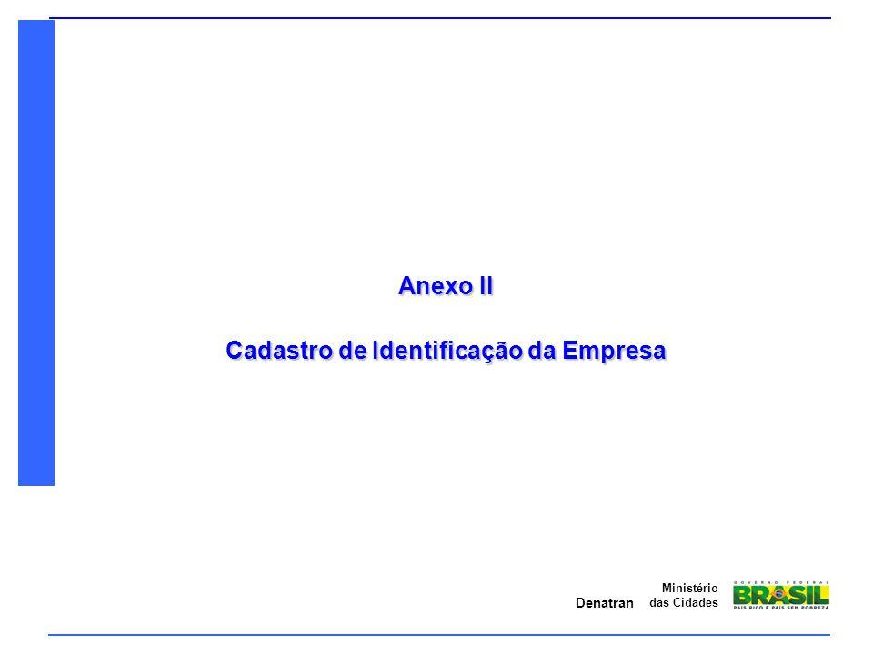 Denatran Ministério das Cidades Anexo II – Cadastro de Identificação da Empresa 1 - Dados Cadastrais: Verificar se os dados conferem com o Requerimento, Contrato Social e Comprovante de CNPJ (ou CPF) apresentados; Deve ser informado o endereço completo (com CEP), os números de telefones e fax, email e pessoa de contato tanto do requerente quanto da ITL responsável pelo processo (se aplicável).
