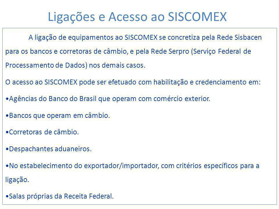 A ligação de equipamentos ao SISCOMEX se concretiza pela Rede Sisbacen para os bancos e corretoras de câmbio, e pela Rede Serpro (Serviço Federal de Processamento de Dados) nos demais casos.