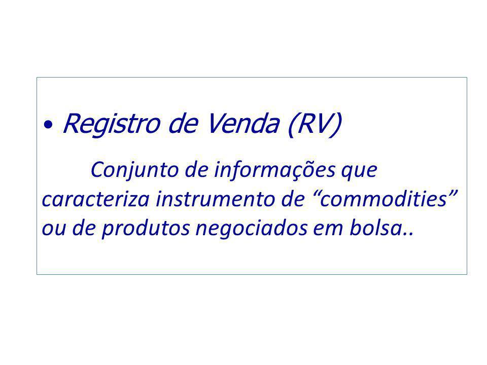 """Registro de Venda (RV) Conjunto de informações que caracteriza instrumento de """"commodities"""" ou de produtos negociados em bolsa.."""