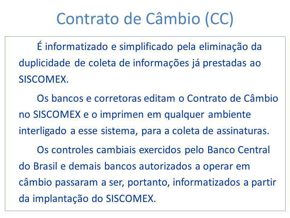 É informatizado e simplificado pela eliminação da duplicidade de coleta de informações já prestadas ao SISCOMEX. Os bancos e corretoras editam o Contr