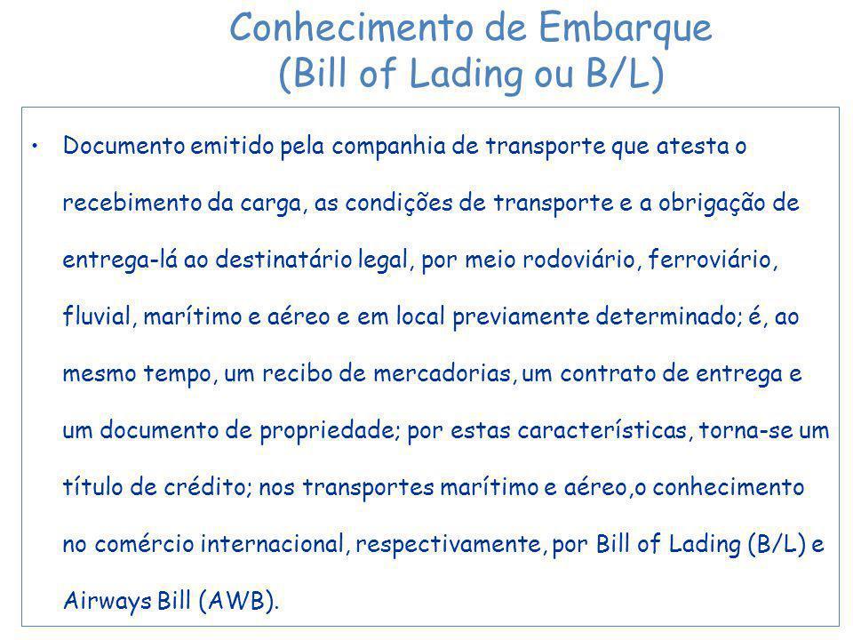 Documento emitido pela companhia de transporte que atesta o recebimento da carga, as condições de transporte e a obrigação de entrega-lá ao destinatário legal, por meio rodoviário, ferroviário, fluvial, marítimo e aéreo e em local previamente determinado; é, ao mesmo tempo, um recibo de mercadorias, um contrato de entrega e um documento de propriedade; por estas características, torna-se um título de crédito; nos transportes marítimo e aéreo,o conhecimento no comércio internacional, respectivamente, por Bill of Lading (B/L) e Airways Bill (AWB).