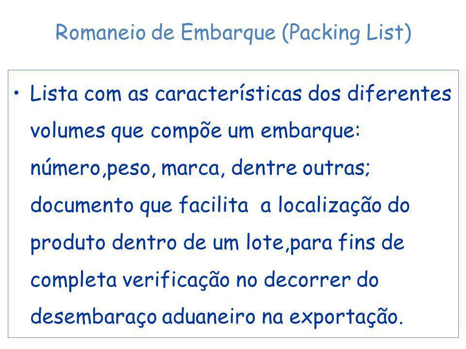 Lista com as características dos diferentes volumes que compõe um embarque: número,peso, marca, dentre outras; documento que facilita a localização do produto dentro de um lote,para fins de completa verificação no decorrer do desembaraço aduaneiro na exportação.