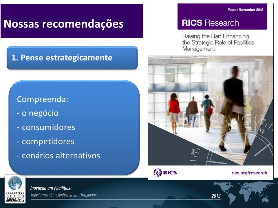 1. Pense estrategicamente Compreenda: - o negócio - consumidores - competidores - cenários alternativos Nossas recomendações