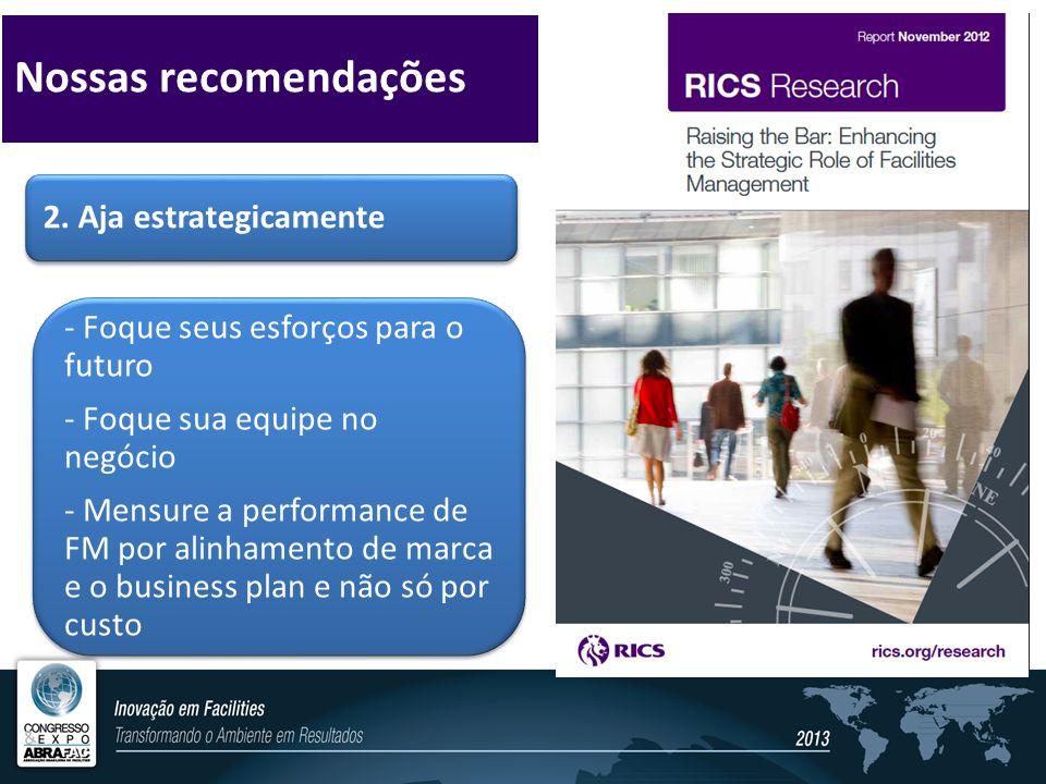 2. Aja estrategicamente - Foque seus esforços para o futuro - Foque sua equipe no negócio - Mensure a performance de FM por alinhamento de marca e o b