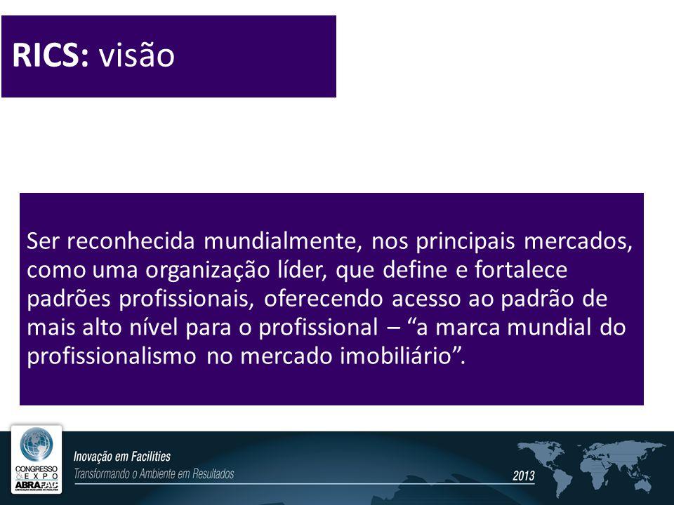 RICS: visão Ser reconhecida mundialmente, nos principais mercados, como uma organização líder, que define e fortalece padrões profissionais, oferecendo acesso ao padrão de mais alto nível para o profissional – a marca mundial do profissionalismo no mercado imobiliário .