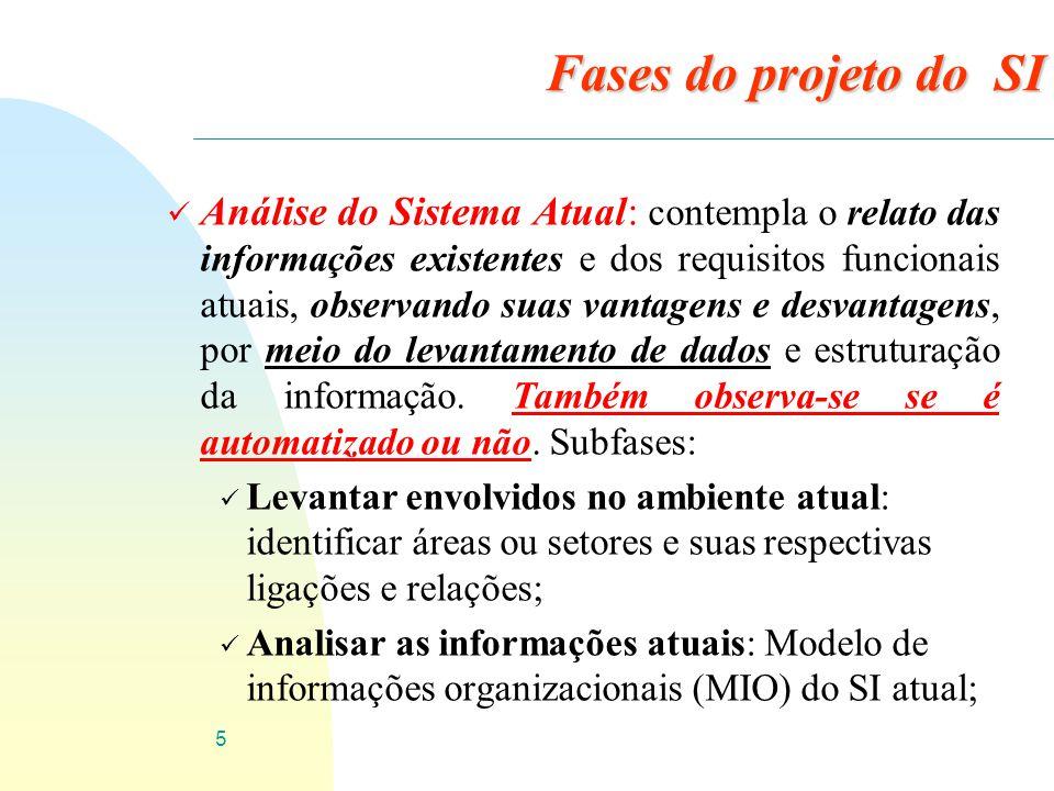16 ü Etapas do projeto do SI: üProjeto pós implementação (manutenção) : Definir tipos de manutenções: Implementações ou melhorias; Legislação; Correção de erros.