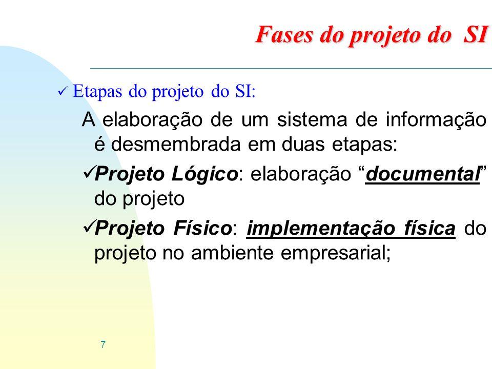 8 ü Etapas do projeto do SI: üProjeto lógico: é a definição de o que o projeto de sistemas de informação fará.