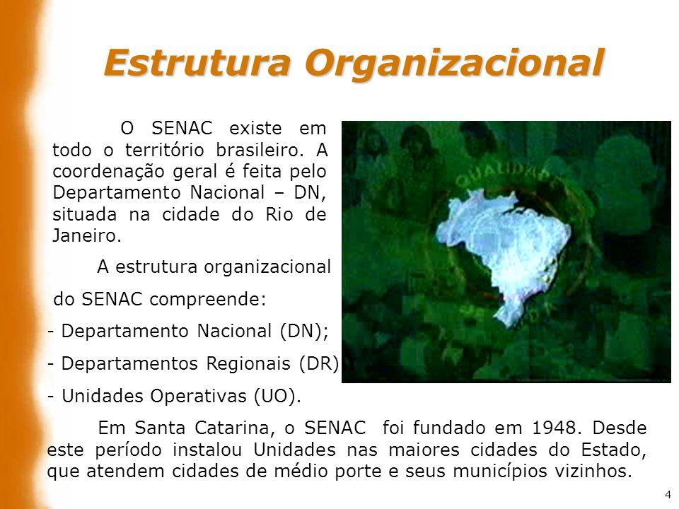 4 O SENAC existe em todo o território brasileiro. A coordenação geral é feita pelo Departamento Nacional – DN, situada na cidade do Rio de Janeiro. A