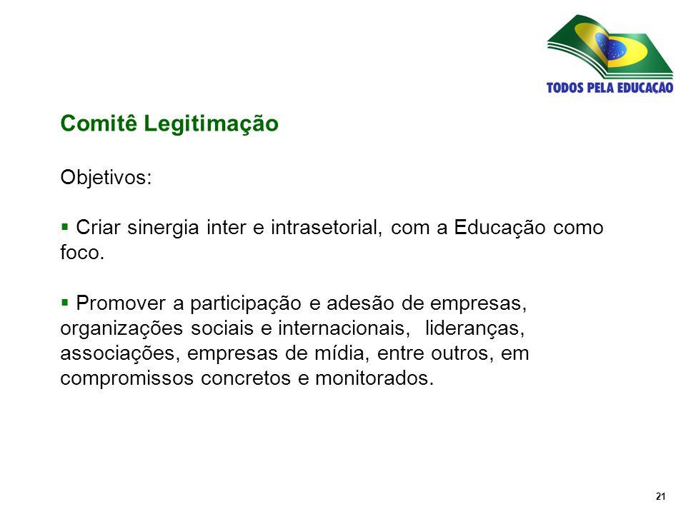 21 Objetivos:  Criar sinergia inter e intrasetorial, com a Educação como foco.