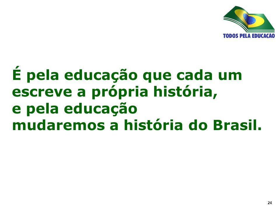 24 É pela educação que cada um escreve a própria história, e pela educação mudaremos a história do Brasil.